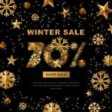 Vendita di inverno 70 per cento fuori, insegna con le stelle d'oro 3d e fiocchi di neve illustrazione vettoriale