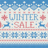 Vendita di inverno: Reticolo lavorato a maglia scandinavo Fotografie Stock Libere da Diritti