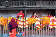 Vendita di mattina, Patan, Nepal Fotografia Stock