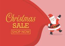 Vendita di Natale con Santa Claus con la borsa enorme illustrazione vettoriale