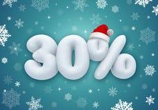 Vendita di Natale, sconto della neve 3d Fotografia Stock