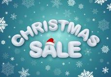 Vendita di Natale, testo della neve 3d Immagini Stock