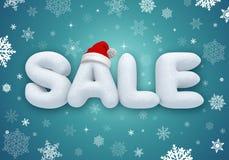Vendita di Natale, testo della neve 3d Fotografia Stock