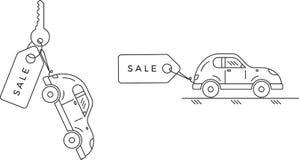 Vendita di nuove ed automobili utilizzate Automobile con l'etichetta di vendita royalty illustrazione gratis