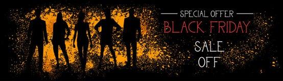 Vendita di offerta speciale di Black Friday fuori dall'insegna orizzontale con le siluette della gente sul fondo del colpo di ler Immagini Stock Libere da Diritti
