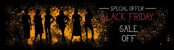 Vendita di offerta speciale di Black Friday fuori dall'insegna orizzontale con le siluette della gente sul fondo del colpo di ler Immagine Stock Libera da Diritti