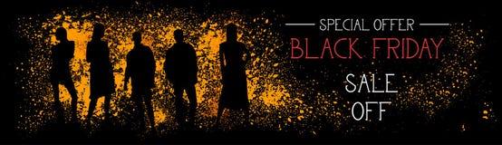 Vendita di offerta speciale di Black Friday fuori dall'insegna orizzontale con le siluette della gente sul fondo del colpo di ler Fotografie Stock Libere da Diritti
