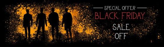 Vendita di offerta speciale di Black Friday fuori dall'insegna orizzontale con le siluette della gente sul fondo del colpo di ler Fotografia Stock