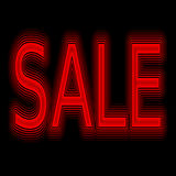 Vendita di promozione al neon del segno di vendita immagine stock
