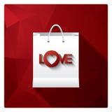 Vendita di San Valentino con il sacchetto della spesa come simbolo Immagini Stock