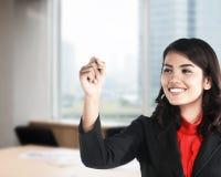 Vendita di scrittura della donna di affari video Immagini Stock