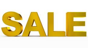 VENDITA dorata - lettere 3d isolate su bianco Fotografie Stock Libere da Diritti