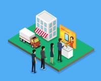Vendita e nuovo modello Device Isometric Style di consegna illustrazione di stock