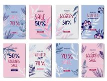 Vendita e sconto di inverno Un insieme di 8 insegne di pubblicità Fotografie Stock Libere da Diritti
