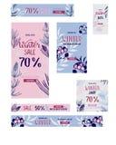 Vendita e sconto di inverno Un insieme di 7 insegne di pubblicità di web Immagine Stock Libera da Diritti