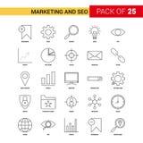 Vendita e SEO Black Line Icon - insieme dell'icona del profilo di 25 affari illustrazione vettoriale