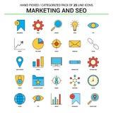 Vendita e SEO Flat Line Icon Set - icone De di concetto di affari royalty illustrazione gratis