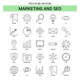 Vendita e SEO Line Icon Set - stile tratteggiato del profilo 25 illustrazione di stock