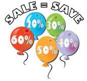 Vendita - etichetta di risparmi con i palloni gonfiabili variopinti illustrazione vettoriale