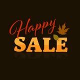 Vendita felice Autumn Fall Typographic Banner e foglie Fotografie Stock Libere da Diritti