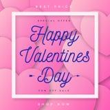 Vendita felice dell'insegna dei biglietti di S. Valentino con l'offerta speciale e la struttura bianca Fotografie Stock
