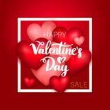 Vendita felice di giorno di biglietti di S. Valentino Immagini Stock