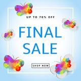 Vendita finale Fondo creativo con le farfalle colorful Fotografia Stock