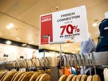 Vendita francese FCUK del collegamento Fotografia Stock Libera da Diritti