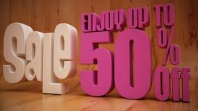 Vendita 50% fuori con fondo di legno Fotografia Stock Libera da Diritti