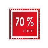 Vendita 70% fuori da progettazione sopra un fondo bianco, illustrazione dell'insegna di vettore Immagini Stock