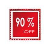 Vendita 90% fuori da progettazione sopra un fondo bianco, illustrazione dell'insegna di vettore Fotografia Stock Libera da Diritti