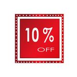 Vendita 10% fuori da progettazione sopra un fondo bianco, illustrazione dell'insegna di vettore Fotografia Stock Libera da Diritti
