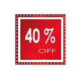 Vendita 40% fuori da progettazione sopra un fondo bianco, illustrazione dell'insegna di vettore Immagini Stock