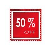 Vendita 50% fuori da progettazione sopra un fondo bianco, illustrazione dell'insegna di vettore Immagine Stock