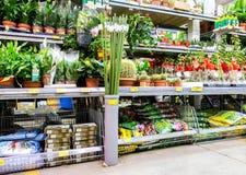 Vendita le piante in vaso e dei fiori immagine stock libera da diritti