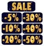 Vendita, lettere dorate illustrazione di stock
