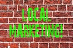 Vendita locale del testo di scrittura di parola Concetto di affari per arte commerciale del muro di mattoni di annunci di pubblic fotografie stock
