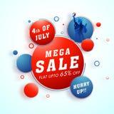 Vendita mega, fino a 65% fuori per il quarto luglio, indipendenza americana D illustrazione vettoriale