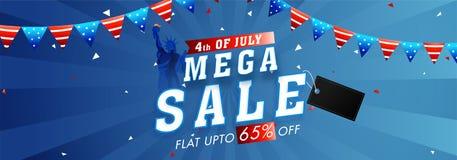 Vendita mega, fino a 65% fuori per il quarto luglio, indipendenza americana D illustrazione di stock