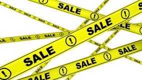 Vendita! nastri d'avvertimento gialli nel moto illustrazione di stock