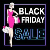 Vendita nera di venerdì Bella ragazza di modo royalty illustrazione gratis