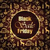 Vendita nera di venerdì su fondo con la decorazione dorata Fotografia Stock