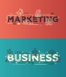 Vendita piana moderna di progettazione, iscrizione di affari con le icone della linea di business Immagini Stock Libere da Diritti