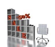 VENDITA rossa 50% del testo 3d Fotografia Stock