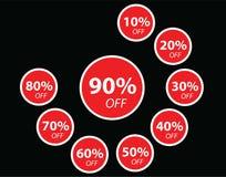 Vendita rossa dell'insegna di sconto di vendita illustrazione di stock