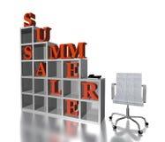 vendita rossa di estate del testo 3D Fotografia Stock