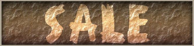 VENDITA scritta con pittura sul fondo del pannello della roccia Immagine Stock Libera da Diritti