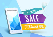 Vendita Smartphone, progettazione del manifesto Illustrazione di vettore Fotografia Stock