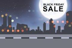 Vendita speciale su Black Friday sulla città Fotografia Stock