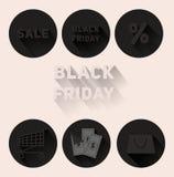 Vendita stabilita di Black Friday delle icone del nero piano Fotografie Stock